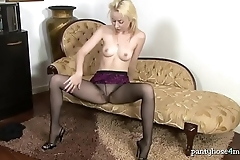 British Gal in Hose Plays With Her Pussy