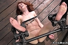 Redhead sub feet caned and pussy fingered