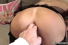 Busty in lingerie anal fuck casting