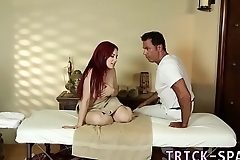 Redhead facialized by masseur
