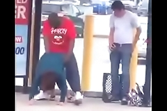 Black guy fuck white slut at the bus stop