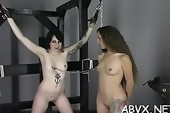 Extreme bondage video with beauty obeying the dirty play