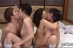 Mature japanese chick goes naked and gets floppy tits played