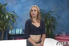 Hot and sexy 18 year old pretty gets fucked hard doggystyle by her masseur