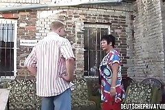 Mature slut fucked outside
