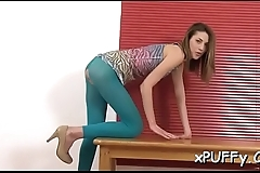 Driving hard fake penis into her anal turns sweetheart into a lusty slut