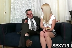 Lusty playgirl is giving older teacher a lusty blowjob session