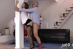 Wench likes getting her pussy destroyed by old stud