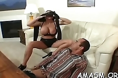 Breasty delights with smothering man before enormous sex scenes