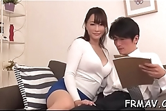 Horny asian toys own snatch whilst giving wet blowjob