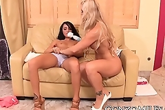 MILF and babe have hardcore lesbian fuck fest with toys