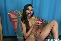Smalltits nubian ts enjoys solo masturbation